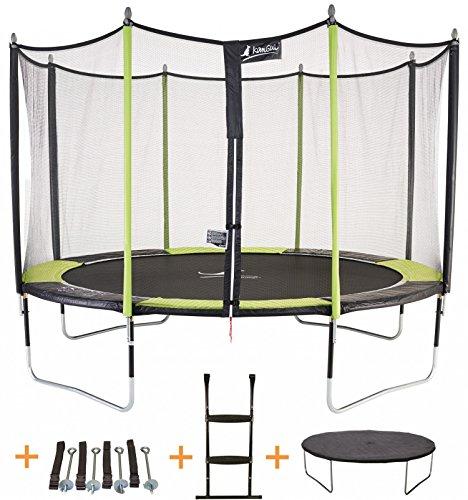 Kangui - Trampoline JUMPI Pop + Filet + échelle PVC + Couverture de propreté + kit d'ancrage - Noir et Vert - Ø250cm - 300cm -...