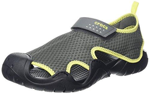 Crocs Swiftwater Sandal Men, Herren Sandalen, Grau (Slate Grey/tennis Ball Green), 46/47 EU