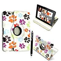 Kamal StarŽ Samsung Galaxy Tab E 9.6 T560 T561 Smart Book Cover Case - Ultra Slim Light Weight Stand Supports 360 Viewing Angles with Auto Sleep/Wake Feature + Free Stylus (Tab E 9.6 T560 T561, Multi Dog Cat Paw Print)