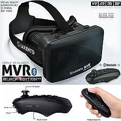 Gafas VR con mando bluetooth. ¡El mejor regalo! LAKENTO MVR v4. Gafas de realidad virtual con mando para móviles Android e iOS (juegos iCade) y dos Juegos gratis. Gafas 3D + Joystick Bluetooth + 2 Juegos incluidos