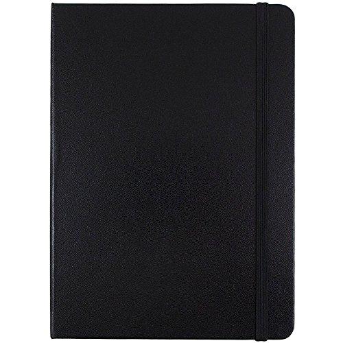 JAM Paper Hardcover Notizbuch mit Gummiband, mittelgroß, 12,7 x 17,8 cm, Schwarz, 100 Blatt (Executive Journal Black)