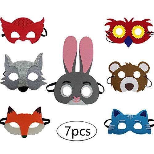 Kostüm Filz Eule - DIMOWANNGG Halloween Tier Filzmaske Kind Halloween Dress Up Kaninchen Fuchs Eule Katze Grauer Wolf Geburtstagsfeier Geschenk Kinderkleidung,Horror lustige Maske (7pcs)