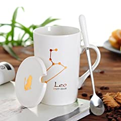 Idea Regalo - Xing Lin Tazza Con Coperchio Tazza Di Ceramica Regalo Tazza Di Acqua Tazza Coppia Tazza Di Osso Cina Tazza Con Cucchiaio Tazza 12 Tazza Di Zodiaco, Leone Bianco