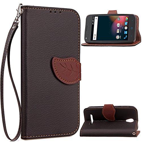Banath Handy Hülle für ZTE Blade L110 PU Leder Flip Wallet Cover Stand Case Card Slot Leder Karteneinschub Magnetverschluß Kratzfestes (Schwarz)