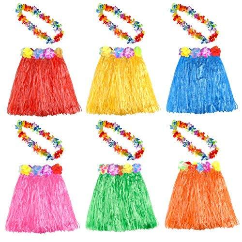 KUUQA 6 Set 12 STÜCKE Hawaiian Gras Hula Rock Mit Blume Leis Halskette Hawaii Luau Röcke Halskette Kostüm für Kinder Mädchen Frauen Luau Geburtstagsfeierbevorzugung Liefert (gelegentliche Farbe) (Dschungel Kostüm Party Für Kinder)