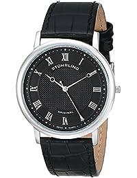 Stuhrling Original Symphony Classique 45 - Reloj de cuarzo, para hombre, con correa de cuero, color negro