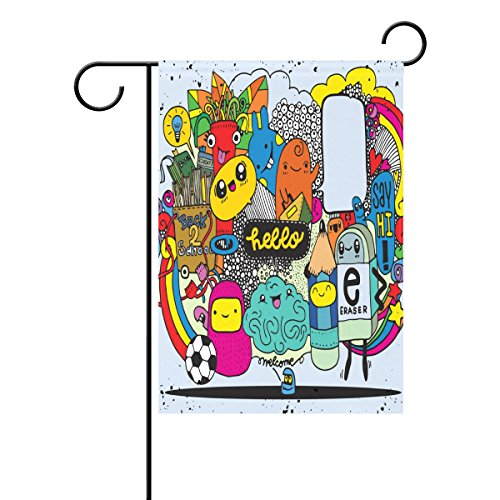 Spring Zurück In Die Schule (Duble Sided Hand Drawn Crazy Doodle Monster Gruppe Back to School Play Football Polyester HAUS/Garten Flagge Banner 12 x 18/71,1 x 101,6 cm für Hochzeit Party alle Wetter, Polyester, multi, 12x18)