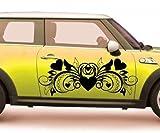 2x Autoaufkleber Herzen, Blumenranke Liebe Tattoo, XXL Tribal Sticker, 2K040_2, Farbe:Weiß Matt;Breite vom Motiv:60cm
