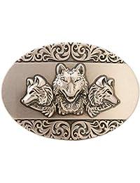 d7f4635c9ad Gurscour Mode Occidental Antique Argent Gravé Fleur 3D Lion Boucle de  Ceinture