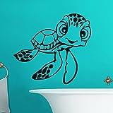 Ambiance-Live Wandtattoo Schildkröte mit großen augen - 55 x 60 cm, Schwarz