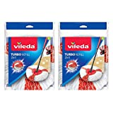 Vileda Turbo 2-in-1 Microfibre Mop Refill Head, Pack of 2-Red