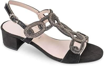 Valleverde 45140 Sandalo Scarpe Tacco Strass Pelle Donna Nero