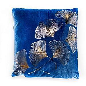 Invicta Interior Elegantes Samtkissen 40x40cm dunkelblau mit goldenen Blätter Samt Kissen Wohnaccessoire Zierkissen mit Ginkgoblätter Dekokissen Accessoire