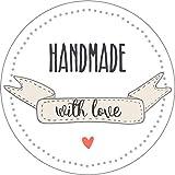 wolga-kreativ 48 Aufkleber Geschenkaufkleber Handmade with love Handmade Homemade Sticker