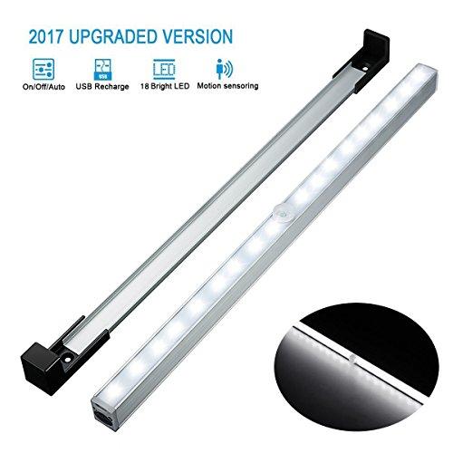 【★Nouvelle】Elfeland Lampe Placard LED Détecteur de Mouvement avec support amovible , 18 LEDs Rechargeable par USB, 3 Mode Lumière pour Armoire, Penderie, Couloir, Cabinet etc