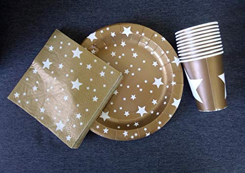 saxxdeluxe 30 Gold Weihnachts-Set mit Becher-Teller-Servietten-Deko-Kinder-Geburtstag-Party-Idee
