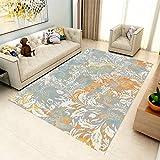 YCMXMY Home Alfombra De Diseño Hojas Blancas Pintadas Ligera Y Reversible Multifunciona Lavable Base De Caucho 200X300Cm