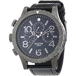 Nixon 48-20 Chrono - Reloj de Cuarzo para Hombre, correa de Cuero color Negro