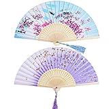 2 Stücke Folding Fans Hand Fans Bambus Fans mit Quaste Frauen Ausgehöhlten Bambus Hand Halten Fans für Wanddekoration, Geschenke (Blau Peach Blossom und Lila Kirsche Muster)