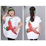 BOZEVON Früchte Gemüse und Tier Kostüme Anzüge Outfits Kostümfest Party Kostüm für Jungen und Mädchen Kinderkostüm, Chili, L(65cm*72cm)