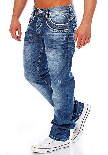 Cipo & Baxx - Jeans - Jambe droite - Uni - Homme Bleu Bleu Bleu - Bleu