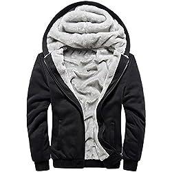 Manluodanni Homme Hiver Chaud Sweats Épaisse Veste à Capuche Doublée Polaire Manteaux Doux Hoodie Blousons Sweat-Shirts Manches Longues en Polyeste et Cotton Noir XL