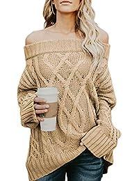Dearlove Schulterfrei Strickpullover Sexy Oversize Pullover Damen  Fledermaus Ärmel Grobstrick Sweater für… c22da11c7f