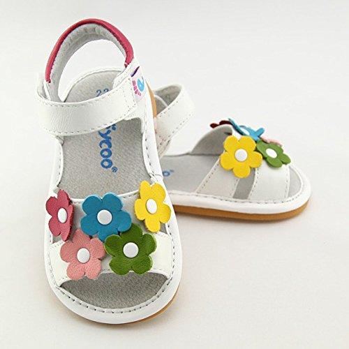 FREYCOO - Scarpine bimba primi passi con fischietto | Sandali bianco fiori colorati Bianco