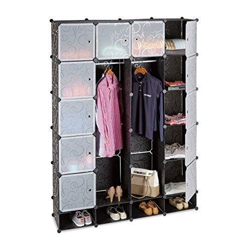 Relaxdays Kleiderschrank Stecksystem mit 18 Fächern, Kunststoff, XXL Garderobenschrank m. Muster,...