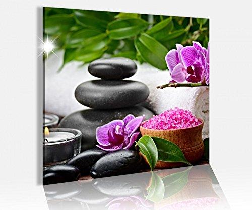 Acrylglasbild 50x50cm Wellness Feng Shui Blume Steine Glasbild Bilder Acrylglas Acrylglasbilder Wandbild 14C565, Acrylglas Größe3:50cmx50cm