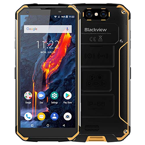 Blackview BV9500 Moviles Libre Resistentes, 10000mAh 5.7 Pulgadas FHD Pantalla Rugged Smartphone, 16+13MP Cámara, Android 8.1, Rugged Phone de 4+64GB, 4G Teléfonos IP68 / IP69K / NFC-Amarillo