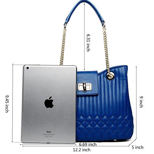 CLUCI Damen/Mädchen Ledertasche Handtasche Umhängetasche Schultertasche Klein Rosa-Rot 9-Blau