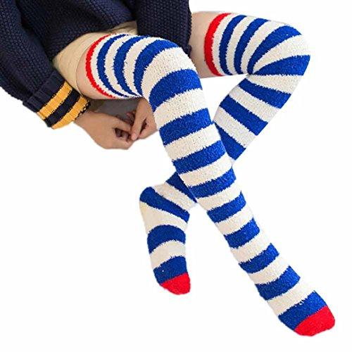 Strümpfe, BZLine® Frauen-Mädchen-Winter über Knie-Bein-Wärmer-weiche Baumwollsocken Legging (Blau) (Frauen über Knie-strumpf)