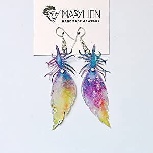 Feder luftige Ohrringe - Feder Tropfen Ohrringe - Trending Schmuck - Feather Schmuck - Rockabilly Schmuck - Feathery Licht Mode Ohrringe
