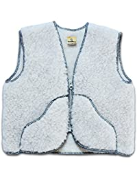 SamWo, niños chaleco pura lana de oveja, muy suave y cálida Producto natural, para niños de 0–2años gris claro