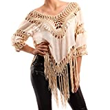 Made Italy Damen Hippie Tunika Shirt Lochmuster Strandtunika Fransen
