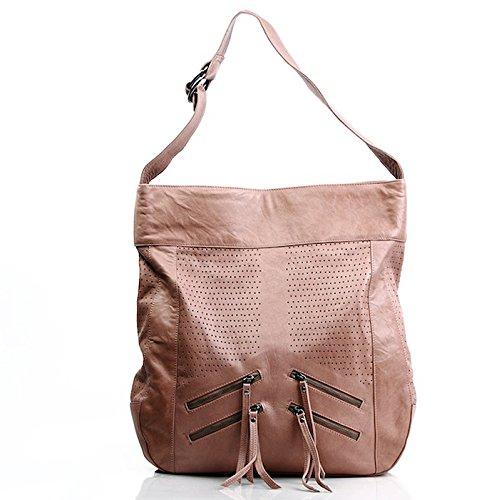 FEYNSINN® Beuteltasche HALEY - Damen Schultertasche XL groß Ledertasche - Hobo Bag Damentasche echt Leder camel-beige (Hobo Leder-camel)