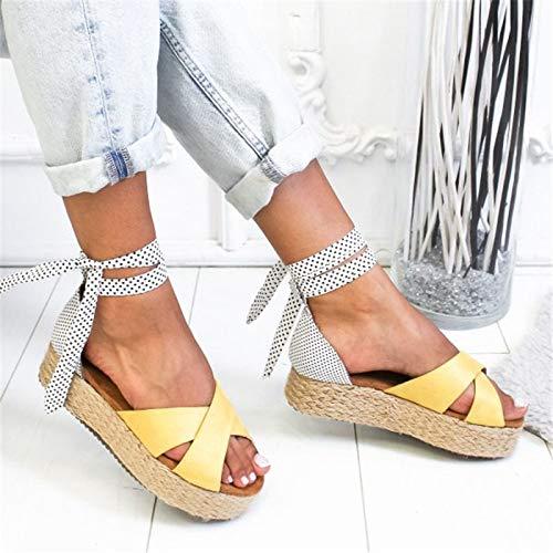 Sandali alla Moda da Donna,Donne Sandali Carino Ruffles Calzature Donna Cross Bendaggio Sandali Scarpe Torridity Appartamenti Sandalias Mujer 2019