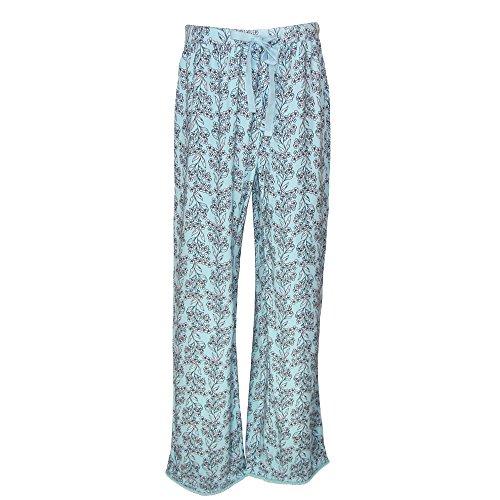 Sag Harbor Damen Schlafanzughose, Geblümt Einheitsgröße Blau