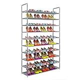 Zapatero de Tela de 10 niveles, Estantería para Zapatos, Tubos de Acero, 99 x 28 x 173cm, Color Gris, Uuhome