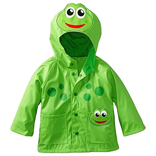 Eastlion Children Cartoon Raincoat Frog Beetle Style Windproof and Rainproof Hooded Jacket