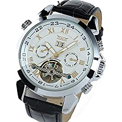 ufengke® antique elegant roman numerals automatic mechanical movement strap calendar wrist watch for men,white