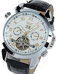 ufengke® movimiento reloj de pulsera antiguos números romanos elegantes mecánico automático calendario de la correa de muñeca para los hombres,blanco