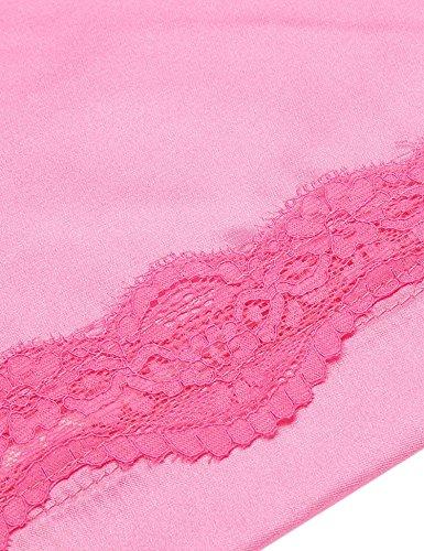 hotouch Vestaglia Kimono in raso Accappatoio Camicia da notte Negligee biancheria da notte pigiama set di seta Robe Pigiama Con Pizzo Floreale Rosa
