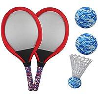 YIMORE Raquetas de Tenis Badminton Racket Set con Bolas Juguete de Deporte Playa al Aire Libre para niños 3 4 5 (Rojo)