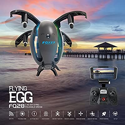Cewaal FQ28 Mini Foldable Drone With 720P WIFI Camera Real-time Transmission,Auto One-touch Switch Emergency Landing Altitude Hold Trajectory flight?Color Random?