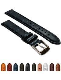 b1eeecee8051 10mm Ladies Genuine Leather Mock Croc Watch Strap Band Crocodile Padded SS  Buckle Blue / Blue