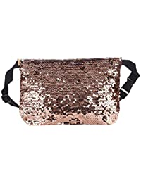 LQZ Women Fashion Sequins Outdoor Sport Waist Pack Bag For Running Gym Hiking