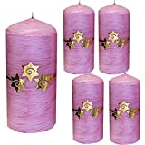 Weihnachten Kerzen Set 4 Stück Stumpenkerzen Adventskerzen 100x50 Dekokerzen Kerzen für Adventskranz Tischkerzen mit Sterne rosa gold andere Farben möglich IW15