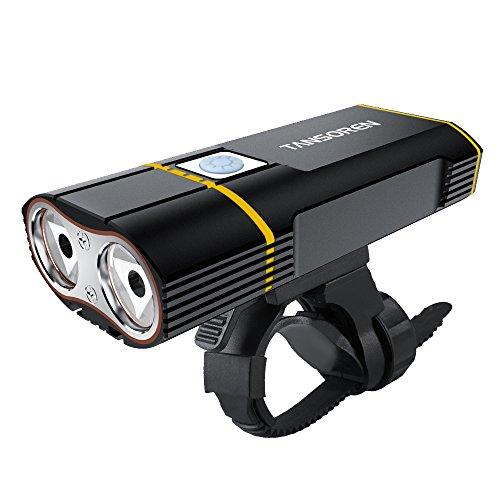 Tansoren USB Wiederaufladbare Fahrradleuchte mit 2000 Lumen CREE XM-L2 LED Lampe, Quick-Release Wasserdichter Fahrrad-Scheinwerfer und freie 18650 Batterien